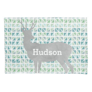 Personalized Boy's Room Deer Abstract Triangles Pillow Case