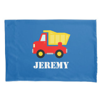 Personalized boys room pillowcase with dump truck