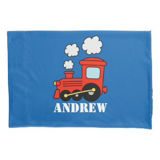 Personalized boys room pillowcase with toy train