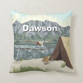 Personalized Boy's Room Woodland  Camping Mountain Throw Pillow