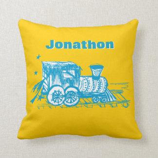 Personalized Boy's Room YELLOW Choo Choo Train Pillows