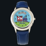 "Personalized Boys Train Choo Choo Watch by CBendel<br><div class=""desc"">Personalize this cute watch with your child&#39;s name.  This design features a steam train engine and clock face numbers.  To change the font style,  size or color,  click on the Customize It button. &#169; Cindy Bendel Designs LLC All Rights Reserved.</div>"