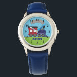 """Personalized Boys Train Choo Choo Watch by CBendel<br><div class=""""desc"""">Personalize this cute watch with your child&#39;s name.  This design features a steam train engine and clock face numbers.  To change the font style,  size or color,  click on the Customize It button. &#169; Cindy Bendel Designs LLC All Rights Reserved.</div>"""