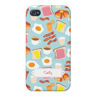 Personalized Breakfast Fun Cover For iPhone 4