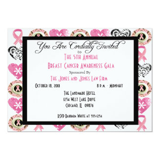 Personalized Breast Cancer Awareness Invitations.. 5x7 Paper Invitation Card