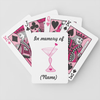Personalized Breast Cancer Cards-Pink Cocktails Bicycle Playing Cards