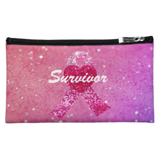 Personalized Breast Cancer Sparkle Pink Ribbon Makeup Bag
