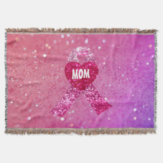 Personalized Breast Cancer Sparkle Pink Ribbon Throw Blanket