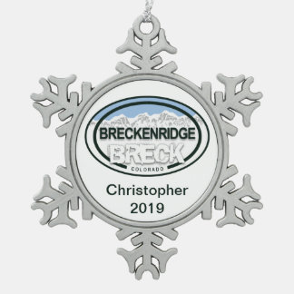Personalized Breckenridge Colorado Rocky Mountain Snowflake Pewter Christmas Ornament