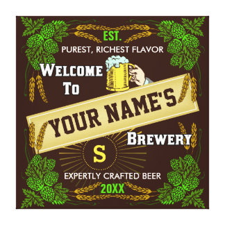 Personalized Brewery / Beer Welcome Sign Stretched Canvas Prints