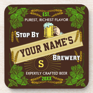 Personalized Brewery: Hops Barley Beer Drink Coaster