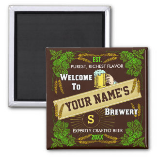 Personalized Brewery Welcome: Hops Barley Beer 2 Inch Square Magnet