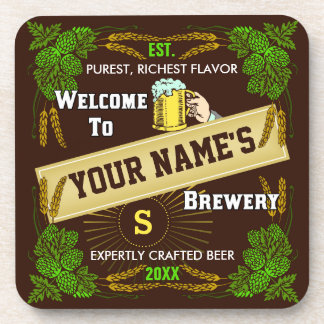 Personalized Brewery Welcome: Hops Barley Beer Coaster