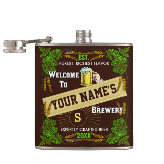 Personalized Brewery Welcome: Hops Barley Beer Flask