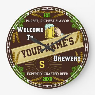 Personalized Brewery Beer Large Clock