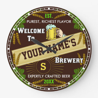 Personalized Brewery Welcome: Hops Barley Beer Large Clock