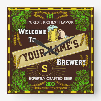 Personalized Brewery Welcome: Hops Barley Beer Square Wall Clock