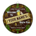 Personalized Brewpub Welcome: Hops Barley Beer Dart Board