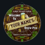 "Personalized Brewpub Welcome: Hops Barley Beer Dart Board<br><div class=""desc"">Create your own extra-fancy custom brewpub dartboard using this beautiful and original template design. The dartboard is edged in an ornate hops and barley border, along with a beer mug graphic, a star burst effect and a central banner. The game board says, &quot;Welcome to [your name]&#39;s Brew Pub.&quot; Then there&#39;s...</div>"