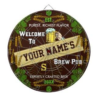 Personalized Brewpub Welcome: Hops Barley Beer Dart Board