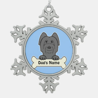 Personalized Briard Snowflake Pewter Christmas Ornament