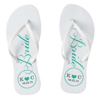 Personalized Bridal (aqua) Flip Flops