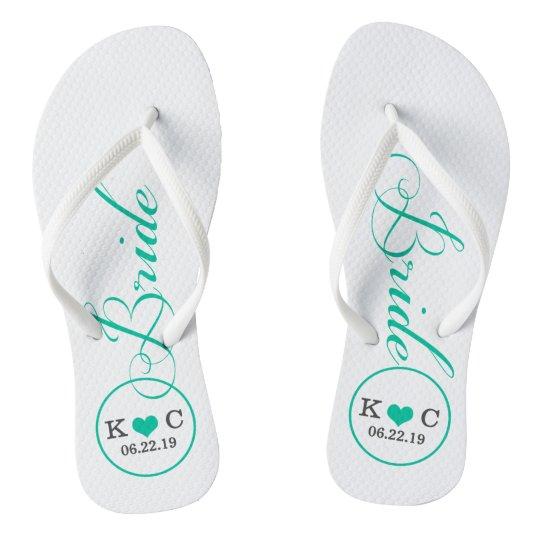 d98199c307b3f Personalized Bridal (aqua) Flip Flops