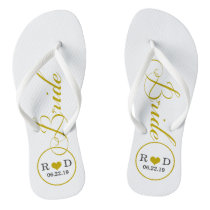 Personalized Bridal (gold) Flip Flops