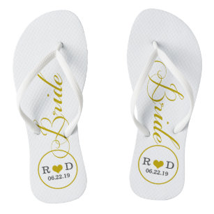 dba63ea70 Personalized Bridal (gold) Flip Flops