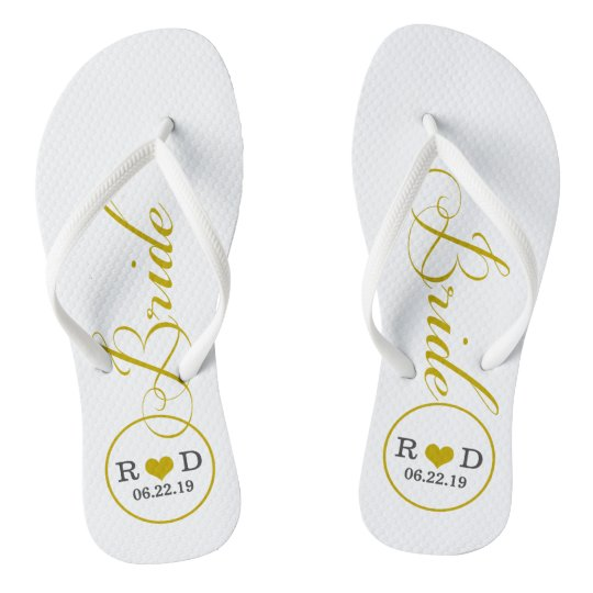 9b936522eda5a2 Personalized Bridal (gold) Flip Flops