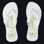 "Personalized Bridal (green) Flip Flops<br><div class=""desc"">Fun,  custom wedding flip flops</div>"