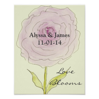 Personalized Bridal shower gift. Love Blooms. Poster