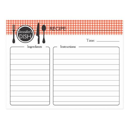 Personalized Bridal Shower Recipe Card Postcard