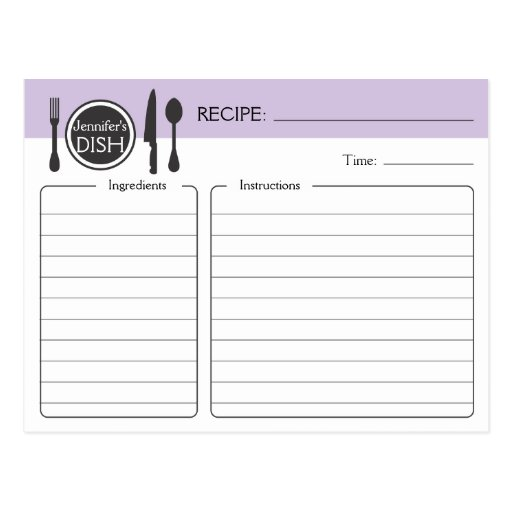Personalized Bridal Shower Recipe Card Post Card