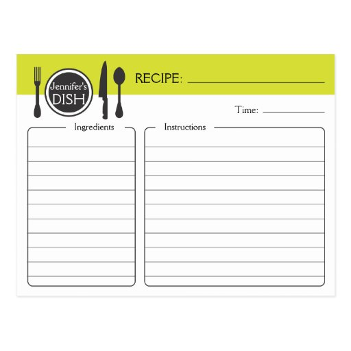 Personalized Bridal Shower Recipe Card Postcard
