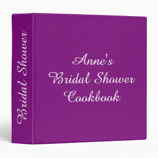 Personalized Bridal Shower Recipe Cookbook Purple 3 Ring Binder