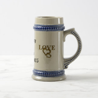 Personalized Bride and Groom Love Heart Stein 18 Oz Beer Stein