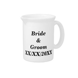 Personalized Bride and Groom with Date Drink Pitchers
