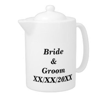 Personalized Bride and Groom with Date Teapot