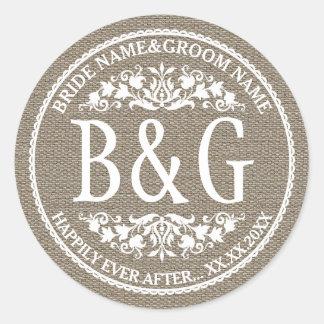 Personalized Bride&Groom Burlap&Lace Classic Round Sticker
