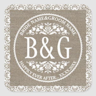 Personalized Bride&Groom Burlap&Lace Square Sticker