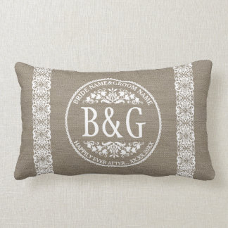 Personalized Bride&Groom Burlap&Lace Throw Pillow