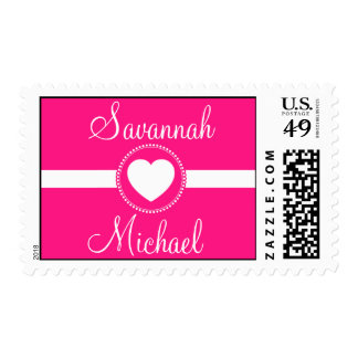 Personalized Bride Groom Heart Wedding Stamps