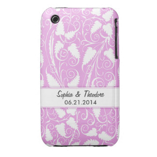 Personalized Bride Groom Lilac Vine iPhone 3 Case
