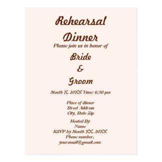 Personalized Bride & Groom Rehearsal Dinner Postcard