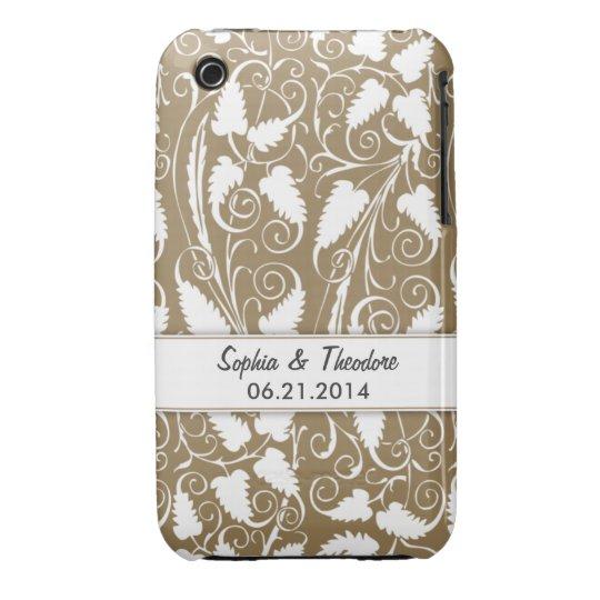 Personalized Bride & Groom Tan Vine iPhone 3 Case
