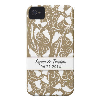 Personalized Bride & Groom Tan Vine iPhone 4 Case