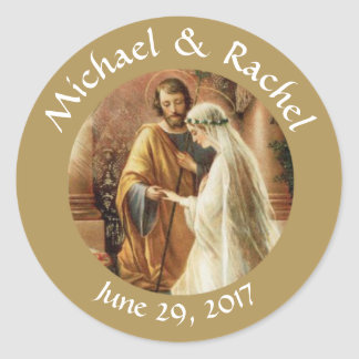Personalized Bride Groom Wedding Favors Classic Round Sticker
