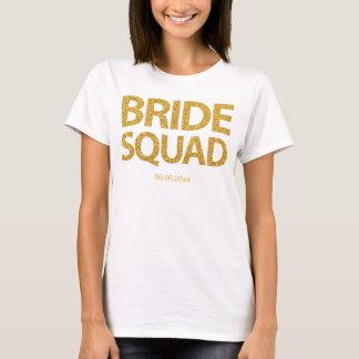 Personalized Bride Squad Golden Sequins T-Shirt
