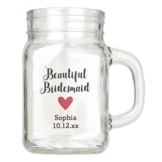 Personalized Bridemaid Wedding Bridal Mason Jar